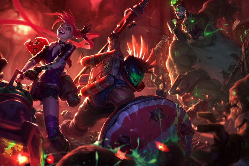 Slayer Jinx, Pantheon & Nunu Splash Art League of Legends Artwork Wallpaper  lol
